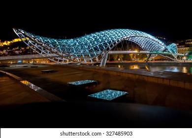The bridge of Prace in Tbilisi, pedestrian bridge over the Mtkvari River in Tbilisi - night shot