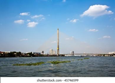 "Bridge Rama 8 spans the river ""Mae Nam Chao Phraya"" in Bangkok"