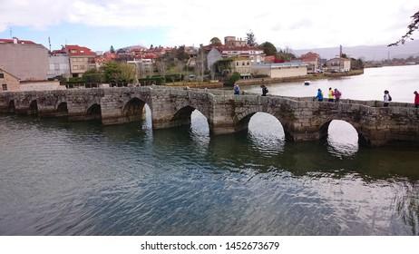 Bridge of the Ramalhosa in the portuguese way to Santiago, Galicia, Spain