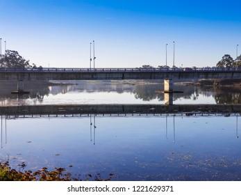 Bridge reflected on Vilanova de Arousa estuary