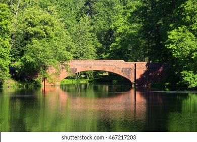 Bridge Reflection in Bass Pond, Asheville, North Carolina