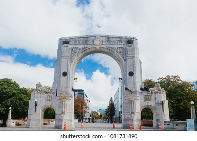 Bridge of Remembrance in the cloudy day. The landmark located in the city centre of Christchurch, New Zealand.