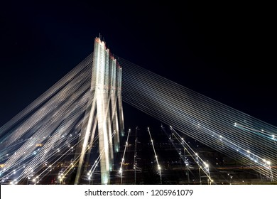 Bridge in Riga at night shot with ling exposure