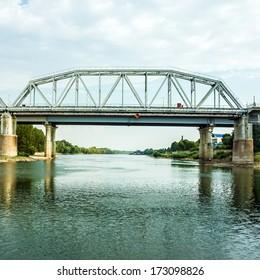 bridge and river bank of Dnestr in town Bender, Transdniestria, Moldova.