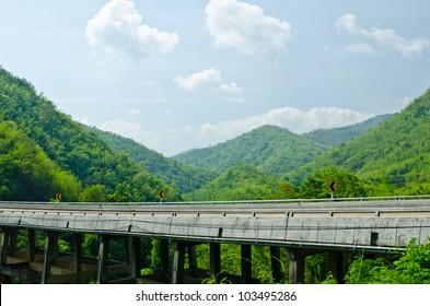 bridge of road on the mountain.