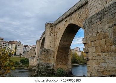 Bridge of Roman foundation over the river Miño in Ourense. Galicia, Spain.