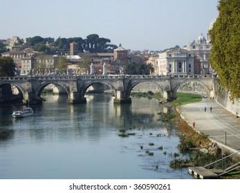 Bridge in Rome Looking Over the Water