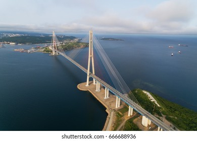 The bridge to the Russian island in Vladivostok from a bird's eye view