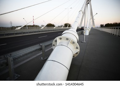 Bridge in Rzeszow, city in Poland over the Vistula river in Warsaw Abstract shape of a contemporary suspension