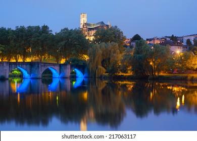 Bridge of Saint Martial in Limoges at night