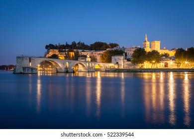 Bridge Saint-Benezet and Palais des Papes in the evening, Avignon, Provence, France