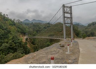 Bridge in Sapa Village, North of Vietnam Mar 2017.