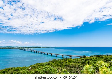 Bridge, sea, landscape. Okinawa, Japan, Asia.
