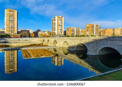 The Bridge of Segovia, crossing the Manzanares river, in Madrid, Spain