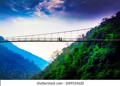 Bridge at Shnongpdeng, Tourist Destination, Meghalaya, Khasi Hills, India