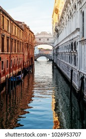 Bridge of Sighs Canal at sunrise, Venice, Italy.