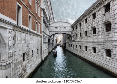 The Bridge of Sighs  connects the New Prison to the interrogation rooms in the Doge's Palace.in Venice, Italy