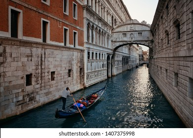 Bridge of Sighs as the famous landmark in Venice Italy.