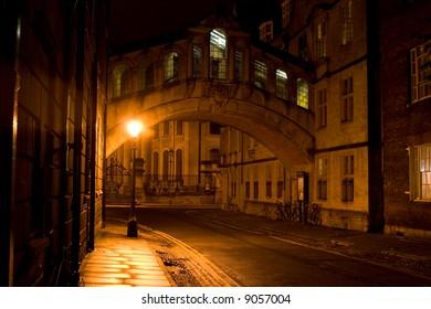 Bridge of Sighs at night, Oxford, England