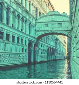 The Bridge of Sighs - Ponte dei Sospiri in Venice, Italy. Vintage style toned