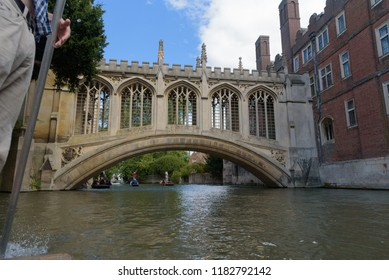 Bridge of Sighs at St John's College in Cambridge from punt boat