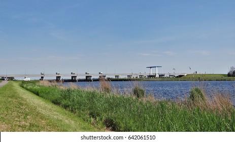 A bridge and sluice (Nijkerkersluis) in the Netherlands. This is the connection over the water between Gelderland (Nijkerk) and Flevoland (Zeewolde)