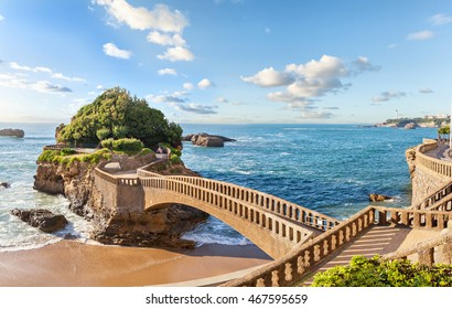 Bridge to the small island near coast in Biarritz, France