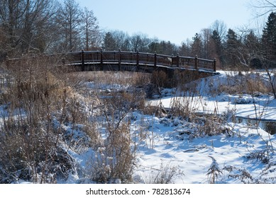 bridge with snow in the foreground