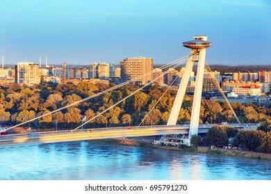 Bridge SNP over Danube river in Bratislava city,Slovakia