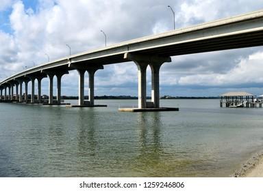 Bridge span over the river at Vilano Beach, Florida