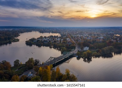 Bridge of spies. View to the Glienicke Bridge over the River Havel. The USA and the Soviet Union used it four times to exchange captured spies during the Cold War. Spy bridge. Potsdam. Germany