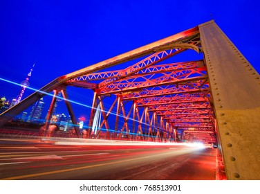 Bridge of steel frame structure, night in Shanghai, China