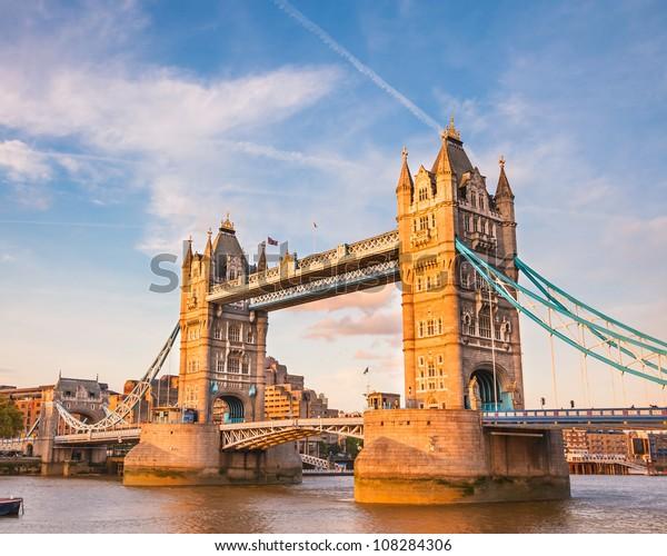 Bridge at sunset, London, UK