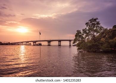 bridge in sunset in Thailand