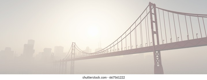 A bridge at sunset. This is a 3d render illustration