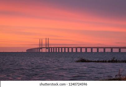 The Öresund bridge in sunset when fall