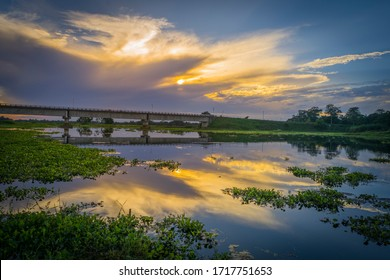 A bridge at Sunset in World's biggest River Island Majuli.