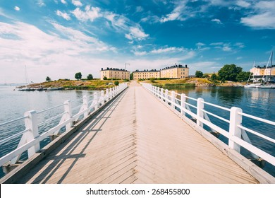 Bridge At Suomenlinna Fortress In Helsinki, Finland. Sunny Day With Blue Sky
