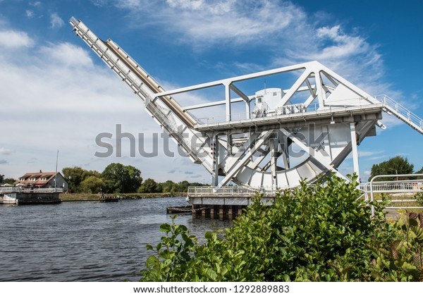 The bridge that crosses over the Canal de Caen was the first objective taken by airborne troops in the Normandy campaign on D-Day 1944 The original bridge was replaced in the 1990s by this new bridge.