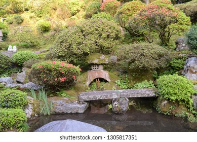 Bridge though  a pond in the Japanese garden