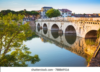 Bridge of Tiberius (Ponte di Tiberio) in Rimini, Italy.