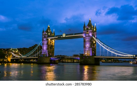 Bridge Tower night view, London, United Kingdom. A combined bascule and suspension bridge which crosses the River Thames and has become an iconic symbol of London.England, UK, Europe