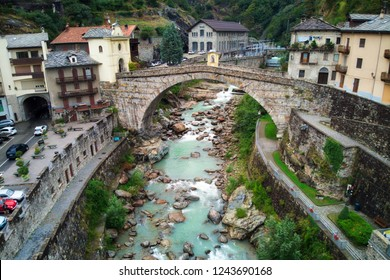 The bridge and town of Pont Saint Martin in the Aosta valley