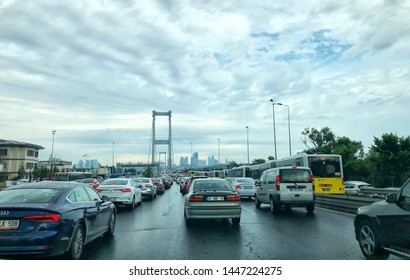 Bridge traffic after the rain in Istanbul, July 10, 2019, Istanbul