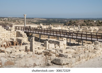The bridge trough ancient stones and pillars in Greece Cyprus