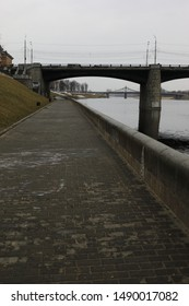 Bridge in Tver in cloudy weather
