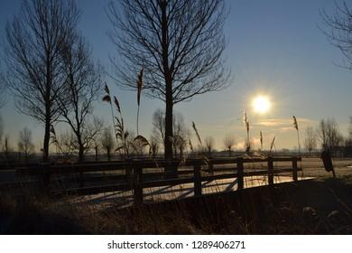 bridge view beautiful frozen rural nature landscape park winter scene blue sky sun
