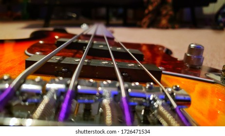 Bridge up view of my Ibanez Tallman bass.