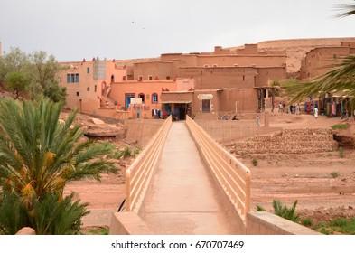 Bridge View over Draa River at Aït Benhaddou Kasbah in Ouarzazate in High Atlas Mountains, Morocco