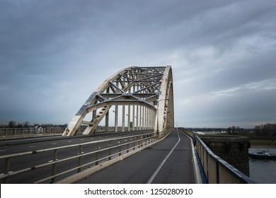 bridge Waalbrug over river Waal near Nijmegen